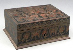 Art Nouveau Bronze Dresser Box, C. 1900, With Inla