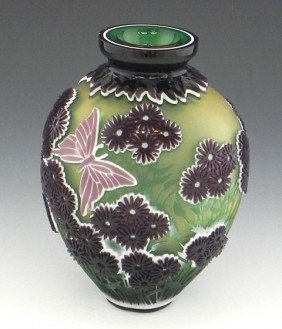 Four Color Cameo Glass Baluster Vase, 1996, By Kel