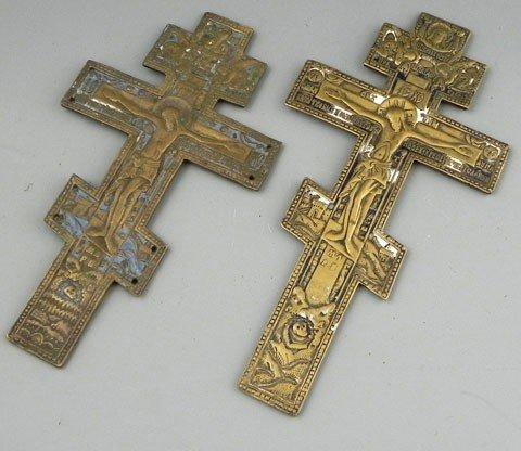 169: Pair of Russian Orthodox Bronze and Enamel Crucifi