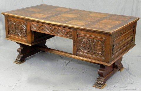 171: Belgian Carved Oak Partner's Desk, late 19th c., t