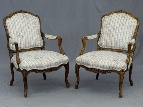 172: Pair of Louis XV Style Carved Beech Fauteuils, 20t