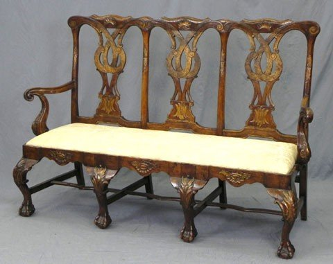173: English Carved Mahogany Chippendale Style Triple C