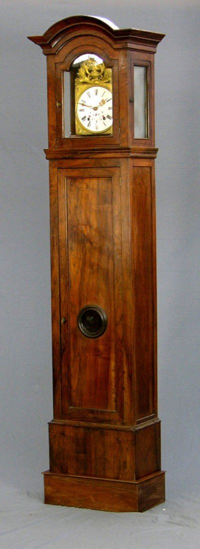 175: French Provincial Carved Walnut  Tall Case Clock,