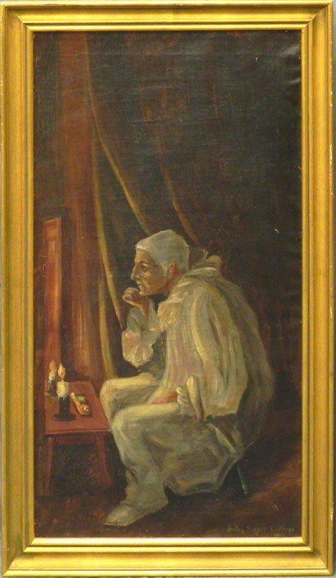 "177: Irving Singer LaFarge, ""Pierrot,"" 1807, oil on can"
