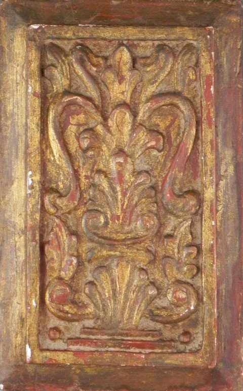 181: Carved Gilt Wood Furniture Panel, 19th c., with re