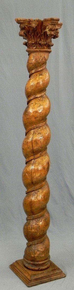 182: Tall Continental Carved Mahogany Column, 19th c.,