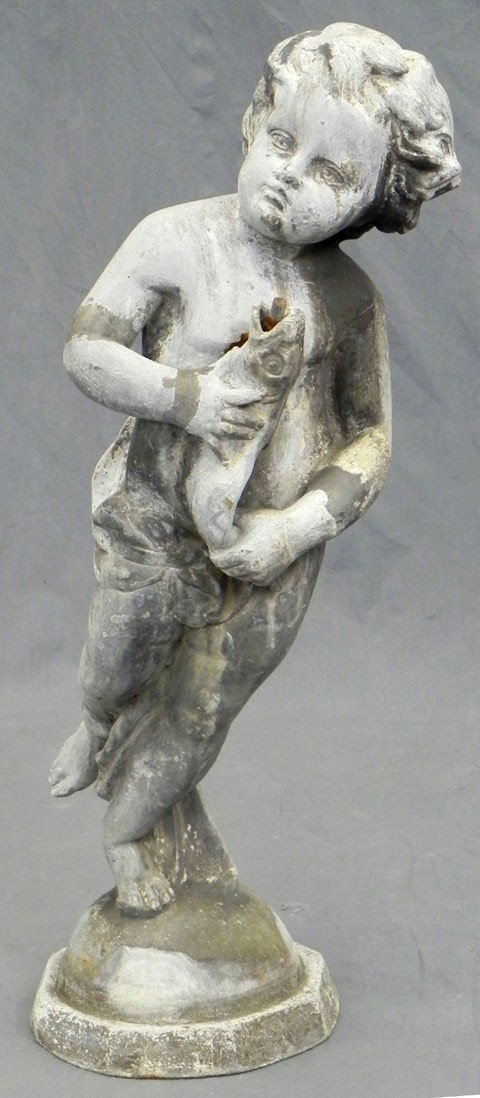 183: Zinc Fountain Figure, early 19th c., of a putto ho