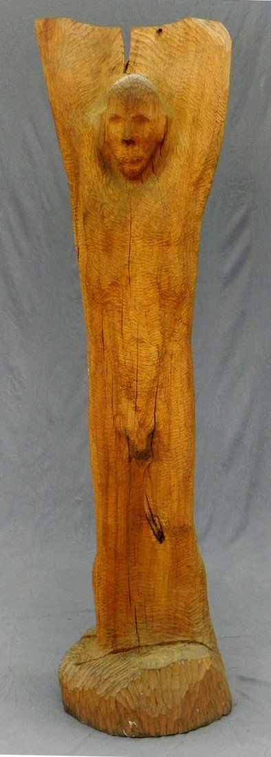 187: Unusual Carved Wood Male Figure, 20th c. carved fr