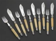 383 Ten Piece Silver Plate Ivory Handled Fish Set c