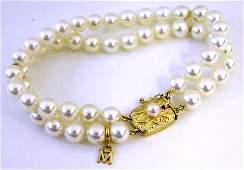 618 Mikimoto 8mm Double Strand White Pearl Bracelet w