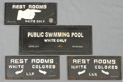 773: Four Cast Iron Segregation Signs, late 20th c., th