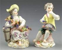 849 Pair of Polychromed Meissen Porcelain Figures 19t