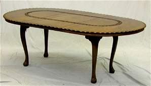 1032: Unusual Carved Mahogany Oval Dining Table, 20th c