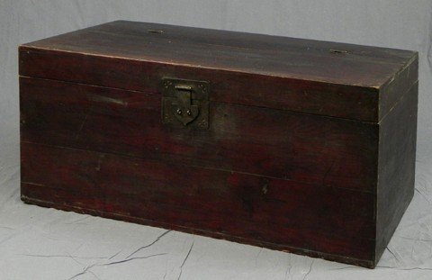 9: Oriental Carved Stained Pine Bedding Box, early 20th