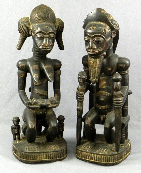 10: Pair of African Carved Wood Spiritual Partners Stat
