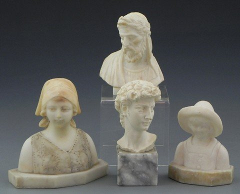 14: Group of Four Small Alabaster Busts, c. 1900- an It