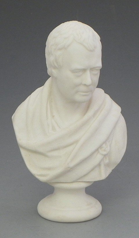 16: Parian Bust of Caesar, 19th c., on a socle support,