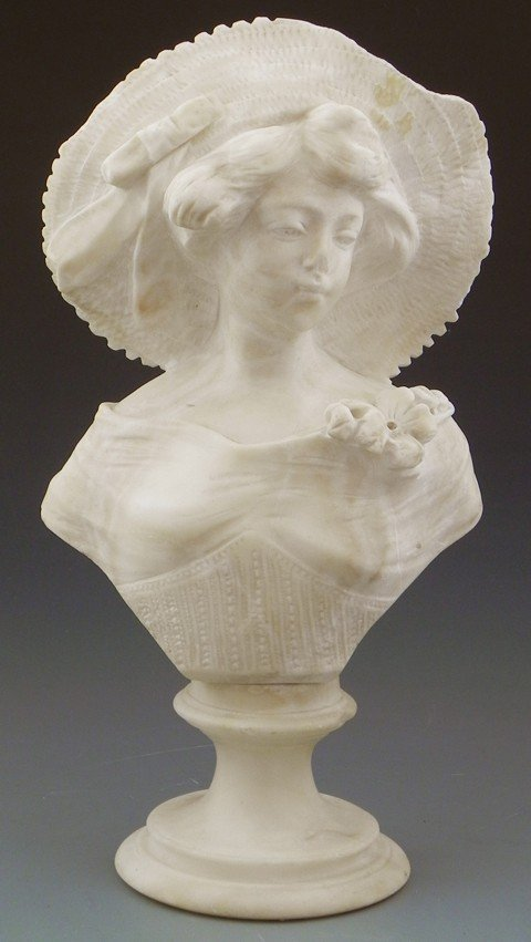 18: Carved Alabaster Bust of a Maiden with a Hat, early