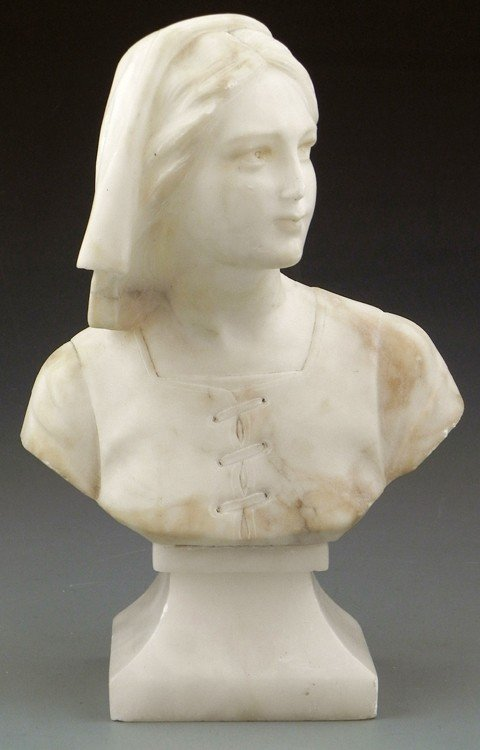 19: Carved Alabaster Bust, early 20th c., of a peasant