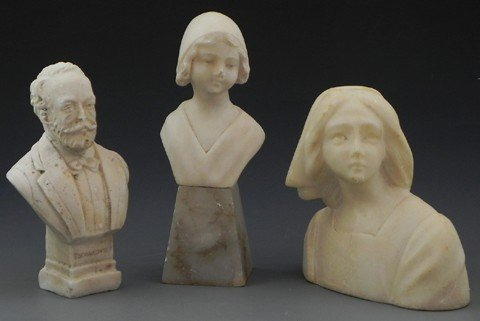 21: Three Portrait Busts, early 20th c., an alabaster p