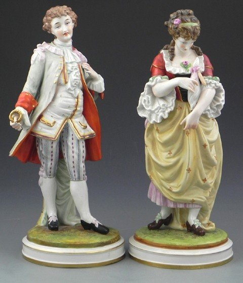 22: Pair of German Polychromed Porcelain Figures, early