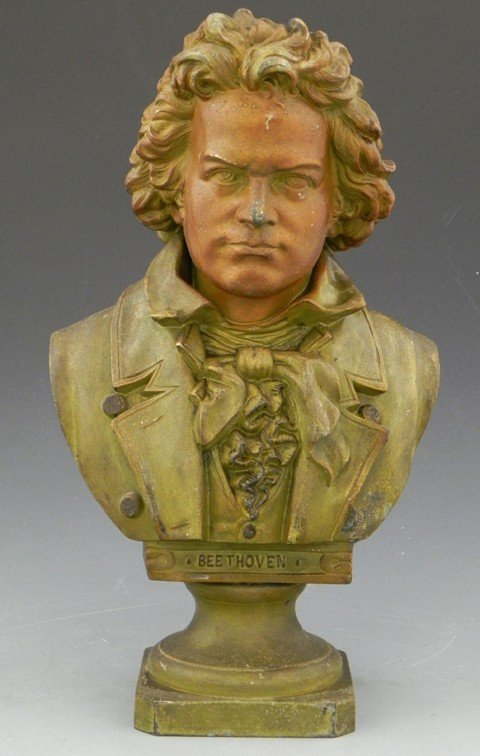 23: Patinated Spelter Bust of Beethoven, early 20th c,