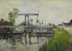 """Continental School, """"Boats by the Canal Bridge,"""" e"""