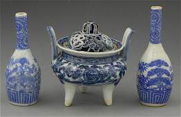 234 Group of Three Japanese Blue and White Porcelain A