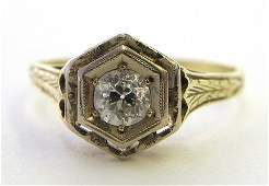 299 Ladys 14K Yellow Gold Dinner Ring early 20th c