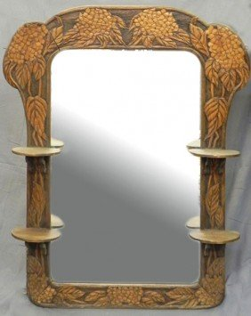 Unusual Art Nouveau Carved Fruitwood Looking Glass