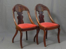 Pair Of Carved Mahogany Gondola Chairs, Early 20th