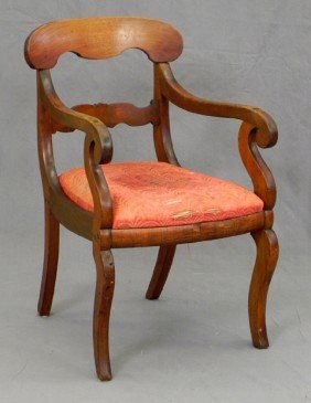 American Classical Carved Mahogany Armchair, 19th