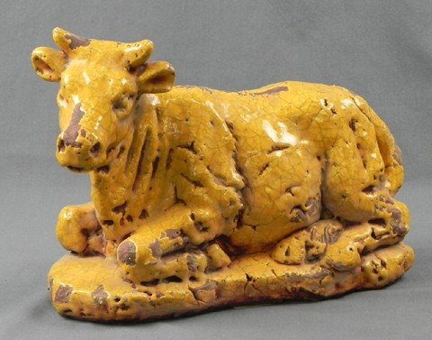 426: French Provincial Style Ochre Glazed Terracotta Fi