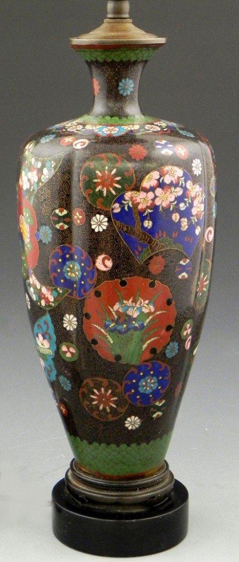 427: Cloisonné Baluster Form Ribbed Vase, c. 1900, now