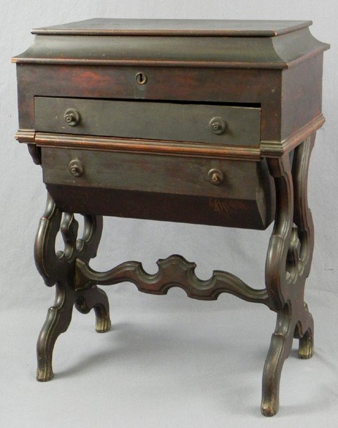 429: American Carved Mahogany Work Table, late 19th c.,