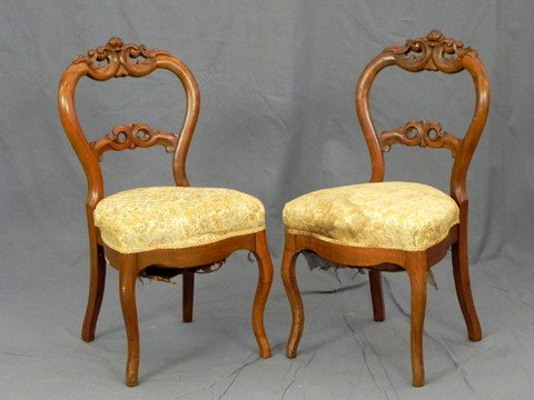 430: Pair of American Carved Walnut Balloon Back Side C