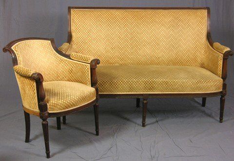 432: Two Piece Louis XVI Style Carved Mahogany Parlor S