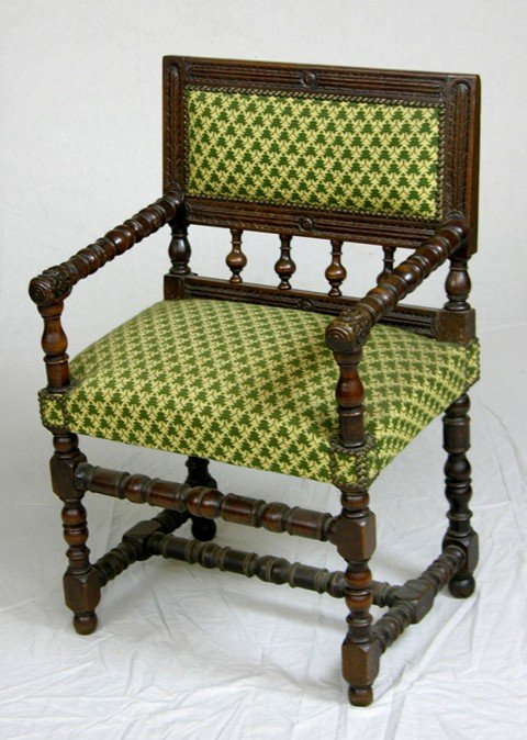 434: Louis XIII Style Carved Walnut Armchair, 19th c.,