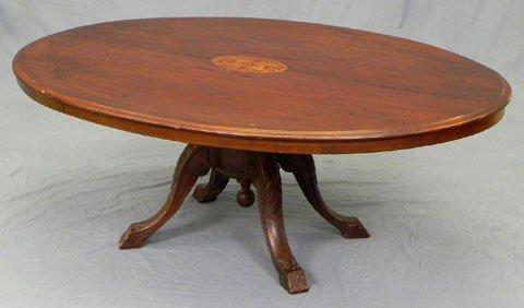 437: English Inlaid Walnut Oval Loo Table, c. 1860, the