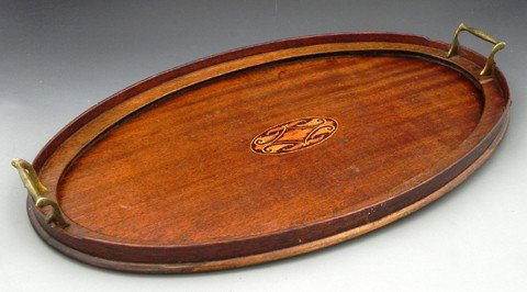 438: Oval Inlaid Mahogany Serving Tray, c. 1930, with a