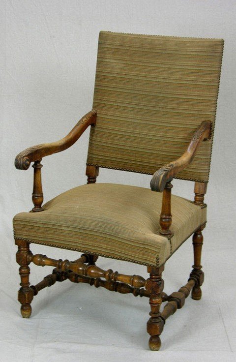 448: Louis XIII Style Carved Walnut Upholstered Armchai