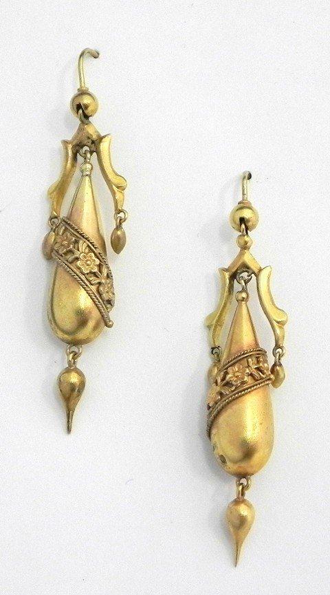 490: Pair of 18K Yellow Gold Pendant Earrings, 19th c.,