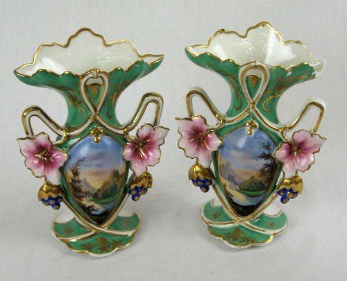 3: Pair of Diminutive Continental Porcelain Flare Mante