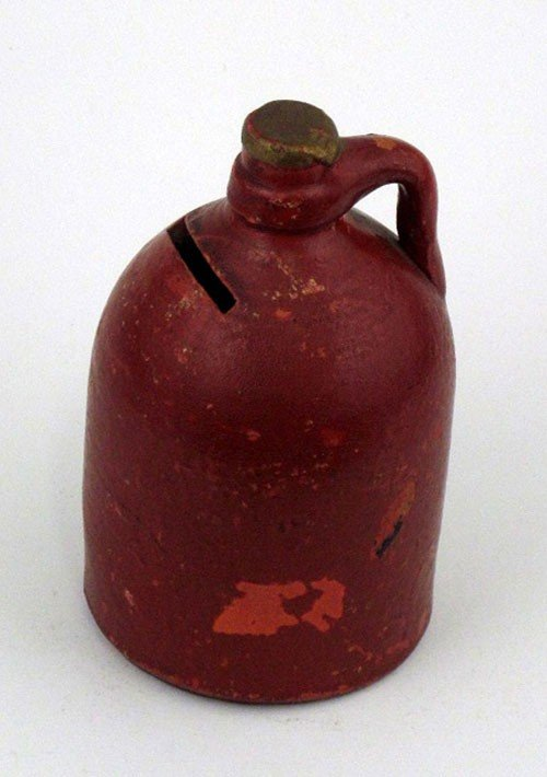 4: Redware Coin Jug Bank, late 19th c., H.- 4 5/8 in.,