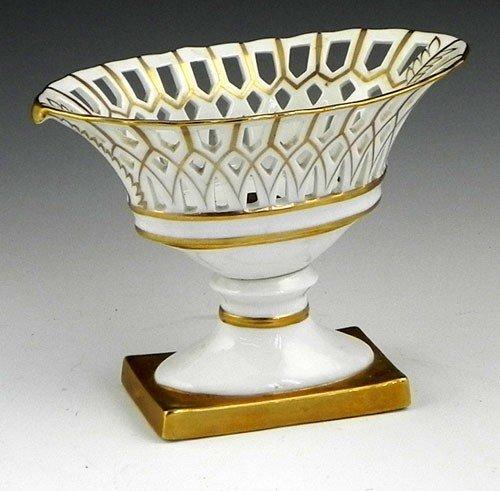 5: Diminutive Continental Porcelain Navette Form Reticu