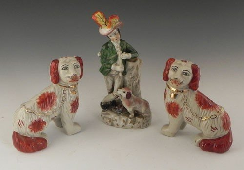 8: Group of Three Staffordshire Style Figures, 20th c.,