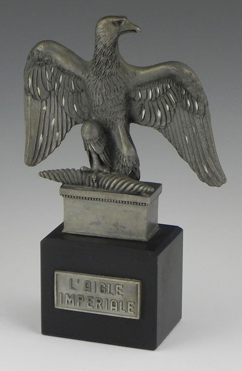 9: Pewter Napoleonic Imperial Eagle, 20th c., on a blac