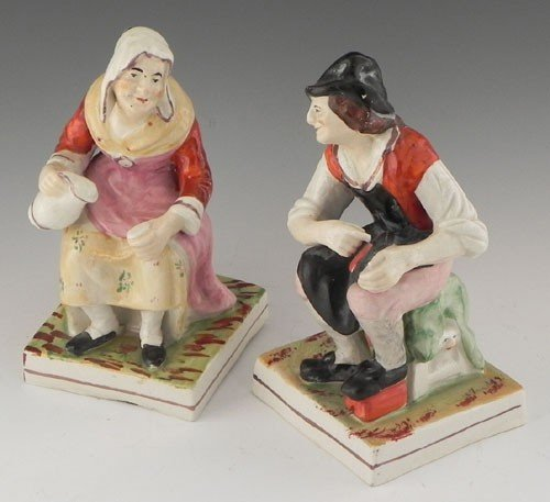 13: Pair of Staffordshire Figures, 19th c., depicting t