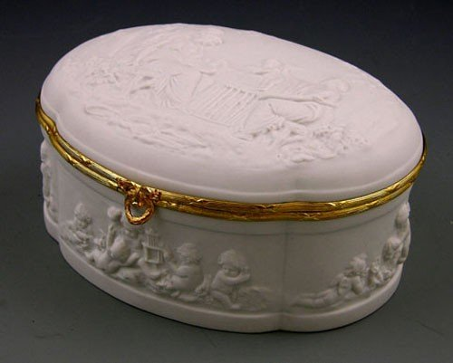 16: Limoges Biscuit Porcelain Shaped Oval Sweetmeats Bo