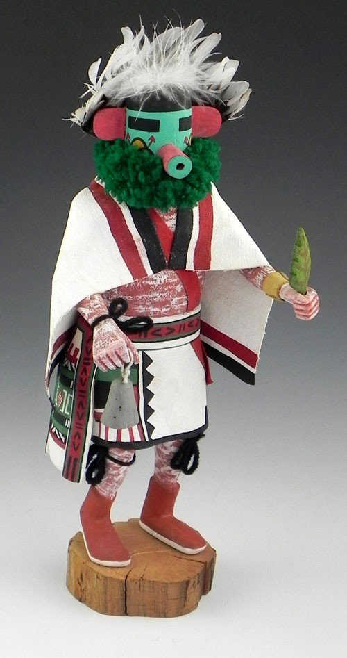 "23: Kachina Doll, 20th c., ""Hopi Morning Kachina,"" sign"